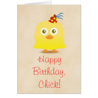 Cute chicken with party hat happy birthday card