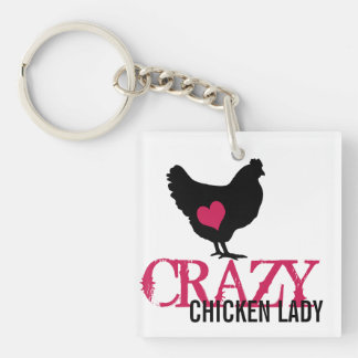 Cute Chicken with Pink Heart Keychain