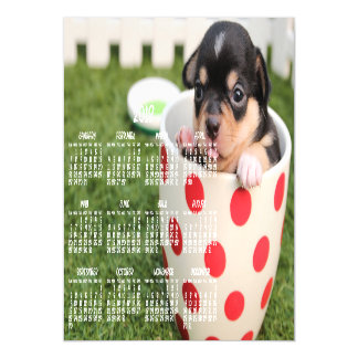 Cute Chihuahua Calendar 2018 Magnetic Card 5x7