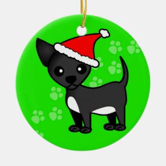 Cute Chihuahua Cartoon Santa Hat - Black Ceramic Ornament
