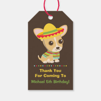 Cute Chihuahua Mexican Kids Fiesta Party Gift Tags Pack Of Gift Tags