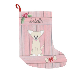 Cute Chihuahua Pink Wooden Fence Monogram Small Christmas Stocking
