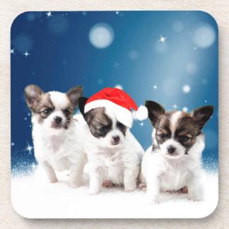 Cute Chihuahua Puppies with Santa Hat Christmas Coaster