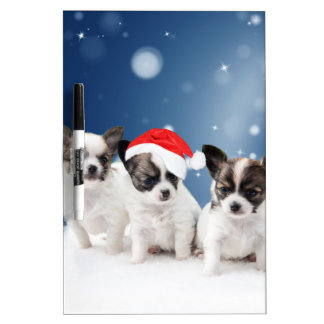 Cute Chihuahua Puppies with Santa Hat Christmas Dry Erase White Board