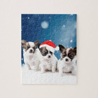 Cute Chihuahua Puppies with Santa Hat Christmas Jigsaw Puzzle