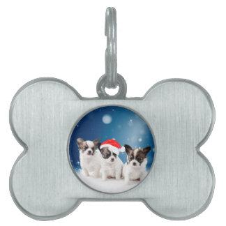 Cute Chihuahua Puppies with Santa Hat Christmas Pet Name Tag