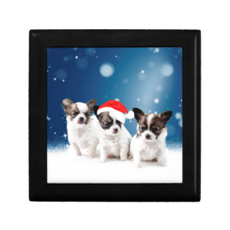 Cute Chihuahua Puppies with Santa Hat Christmas Trinket Boxes