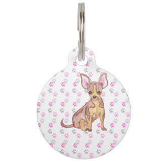 Cute Chihuahua Puppy in Watercolor and Paw Prints Pet Tags