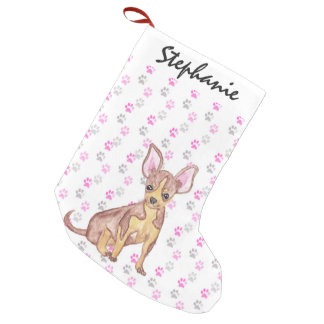Cute Chihuahua Puppy in Watercolor and Paw Prints Small Christmas Stocking