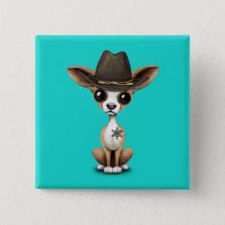 Cute Chihuahua Puppy Sheriff 2 Inch Square Button