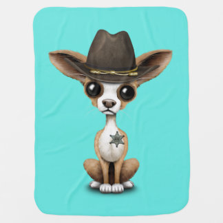 Cute Chihuahua Puppy Sheriff Baby Blanket