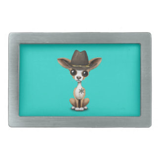 Cute Chihuahua Puppy Sheriff Belt Buckle