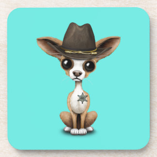 Cute Chihuahua Puppy Sheriff Beverage Coasters