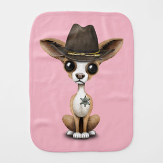 Cute Chihuahua Puppy Sheriff Burp Cloth