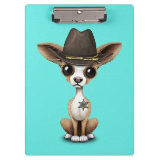 Cute Chihuahua Puppy Sheriff Clipboard