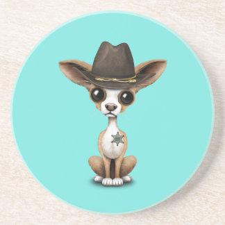 Cute Chihuahua Puppy Sheriff Coaster