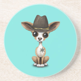 Cute Chihuahua Puppy Sheriff Coasters