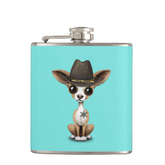 Cute Chihuahua Puppy Sheriff Hip Flask