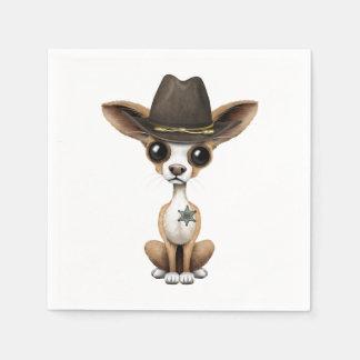 Cute Chihuahua Puppy Sheriff Paper Napkins