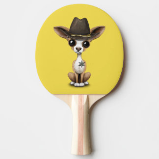 Cute Chihuahua Puppy Sheriff Ping Pong Paddle