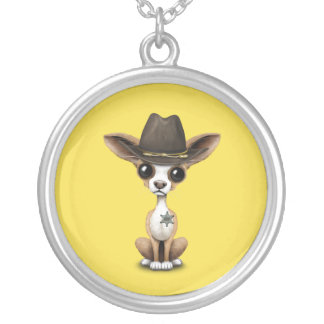 Cute Chihuahua Puppy Sheriff Silver Plated Necklace