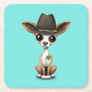 Cute Chihuahua Puppy Sheriff Square Paper Coaster