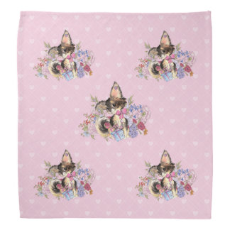 Cute Chihuahua Puppy with watercolor flowers Bandana