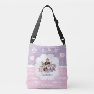 Cute Chihuahua Puppy with watercolor flowers Crossbody Bag