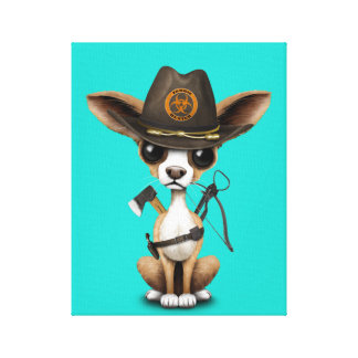 Cute Chihuahua Puppy Zombie Hunter Canvas Print