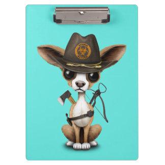 Cute Chihuahua Puppy Zombie Hunter Clipboard