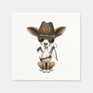 Cute Chihuahua Puppy Zombie Hunter Paper Napkin