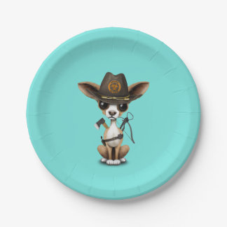 Cute Chihuahua Puppy Zombie Hunter Paper Plate