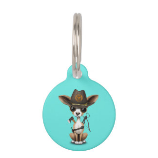 Cute Chihuahua Puppy Zombie Hunter Pet ID Tag