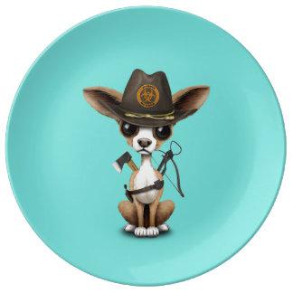 Cute Chihuahua Puppy Zombie Hunter Plate