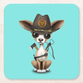 Cute Chihuahua Puppy Zombie Hunter Square Paper Coaster