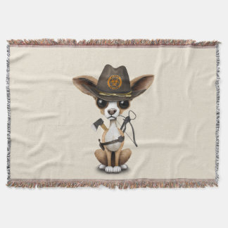 Cute Chihuahua Puppy Zombie Hunter Throw Blanket