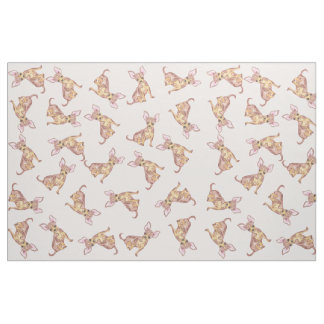 Cute Chihuahua Watercolor Painted Pink Brown Fabric