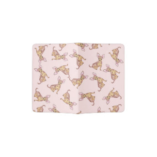 Cute Chihuahua Watercolor Painted Pink Brown Passport Holder