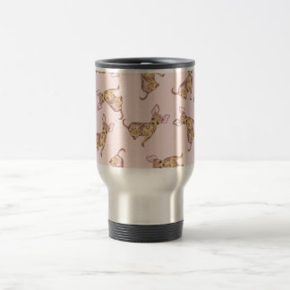 Cute Chihuahua Watercolor Painted Pink Brown Travel Mug