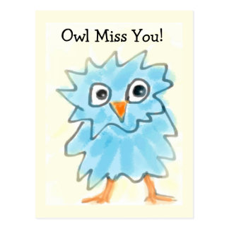 Cute Childish Blue Watercolor Owl Missing You Postcard