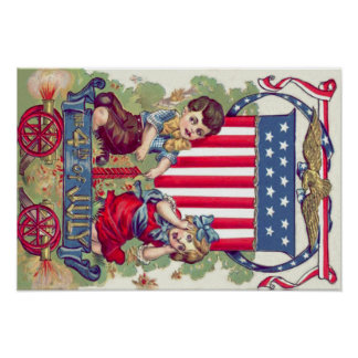 Cute Children American Shield Cannon Poster