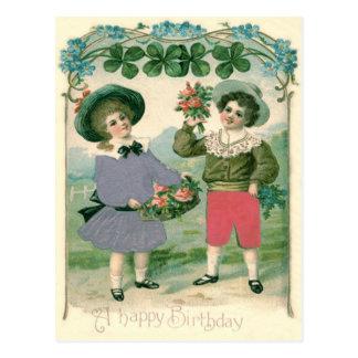 Cute Children Roses Four Leaf Clover Postcard