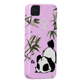 """Cute Chinese """"Love"""" Panda with Bamboos iPhone 4 Case"""