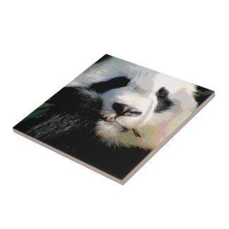 Cute Chinese Panda Bear Eating Bamboo Digital Art Ceramic Tiles
