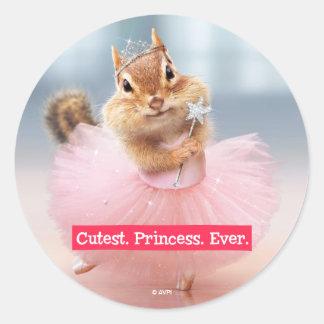 Cute Chipmunk Ballerina in tutu at Dance Studio Classic Round Sticker