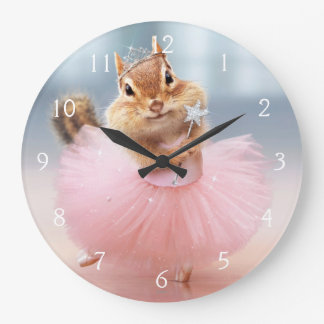 Cute Chipmunk Ballerina in tutu at Dance Studio Large Clock