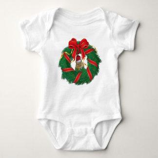 Cute Chipmunk Christmas Wreath Baby Bodysuit
