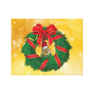 Cute Chipmunk Christmas Wreath Canvas Print