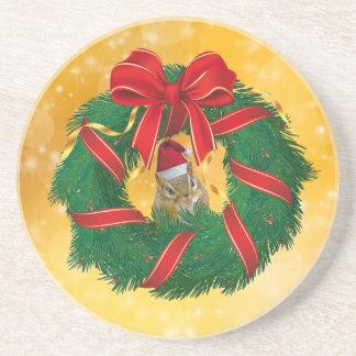 Cute Chipmunk Christmas Wreath Coaster