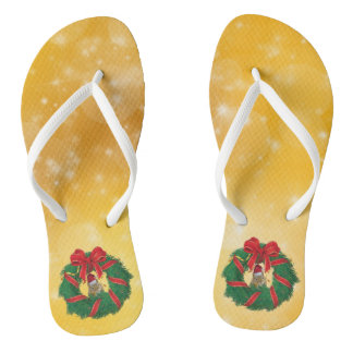 Cute Chipmunk Christmas Wreath Flip Flops